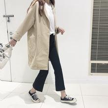 春季韩版简约宽松中长款西装翻领长袖卡其色薄款工装风衣外套学生