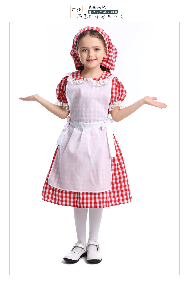 Halloween cosplay lace red plaid beer dress maid outfit NHFE153945