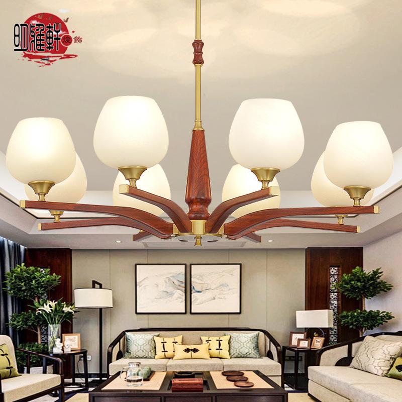 新中式吊灯客厅中国风实木全铜灯现代简约灯具餐厅灯别墅复式楼灯