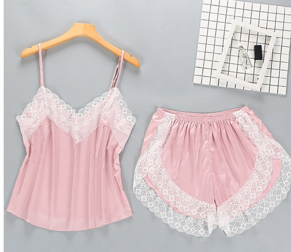 Factory Direct Summer Temptation Solid Color Breathable Suspenders Pajamas Sexy Lace Two-piece Women's Pajamas