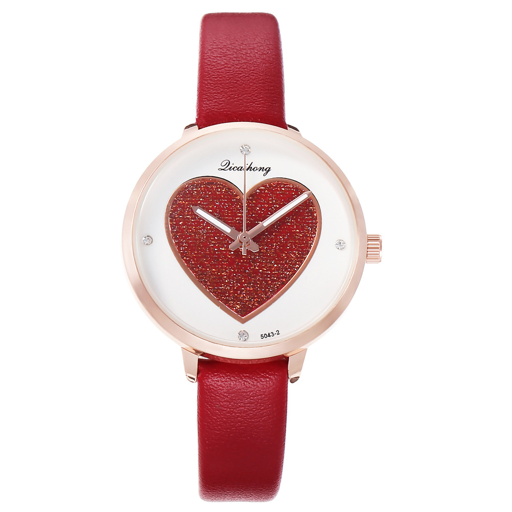 Best selling couple watches ladies personality peach heart dial belt watch NHHK184911