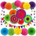 跨境橱窗装饰七彩纸扇花纸花球套装婚礼生日派对七彩横幅纸扇套装