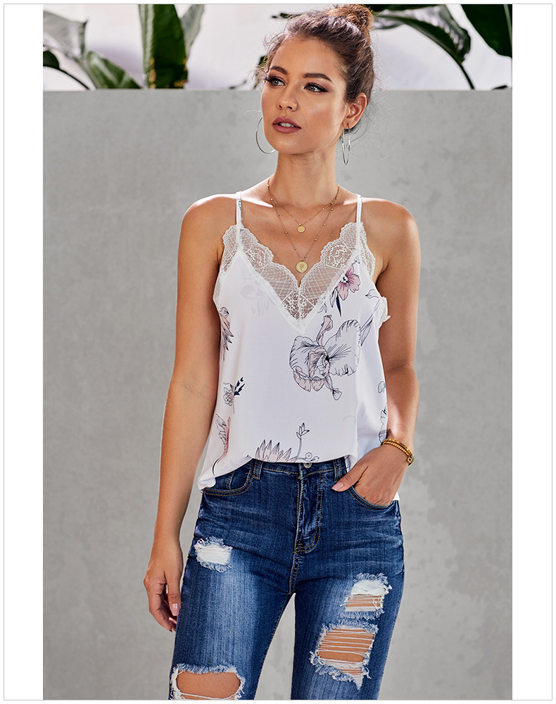 lace sling bottoming vest women's loose snake print top NSSI2554