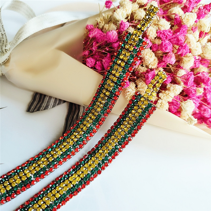 Multilayer Alloy Tassel Earrings Women's Diamond Color Long Earrings NHVA175494