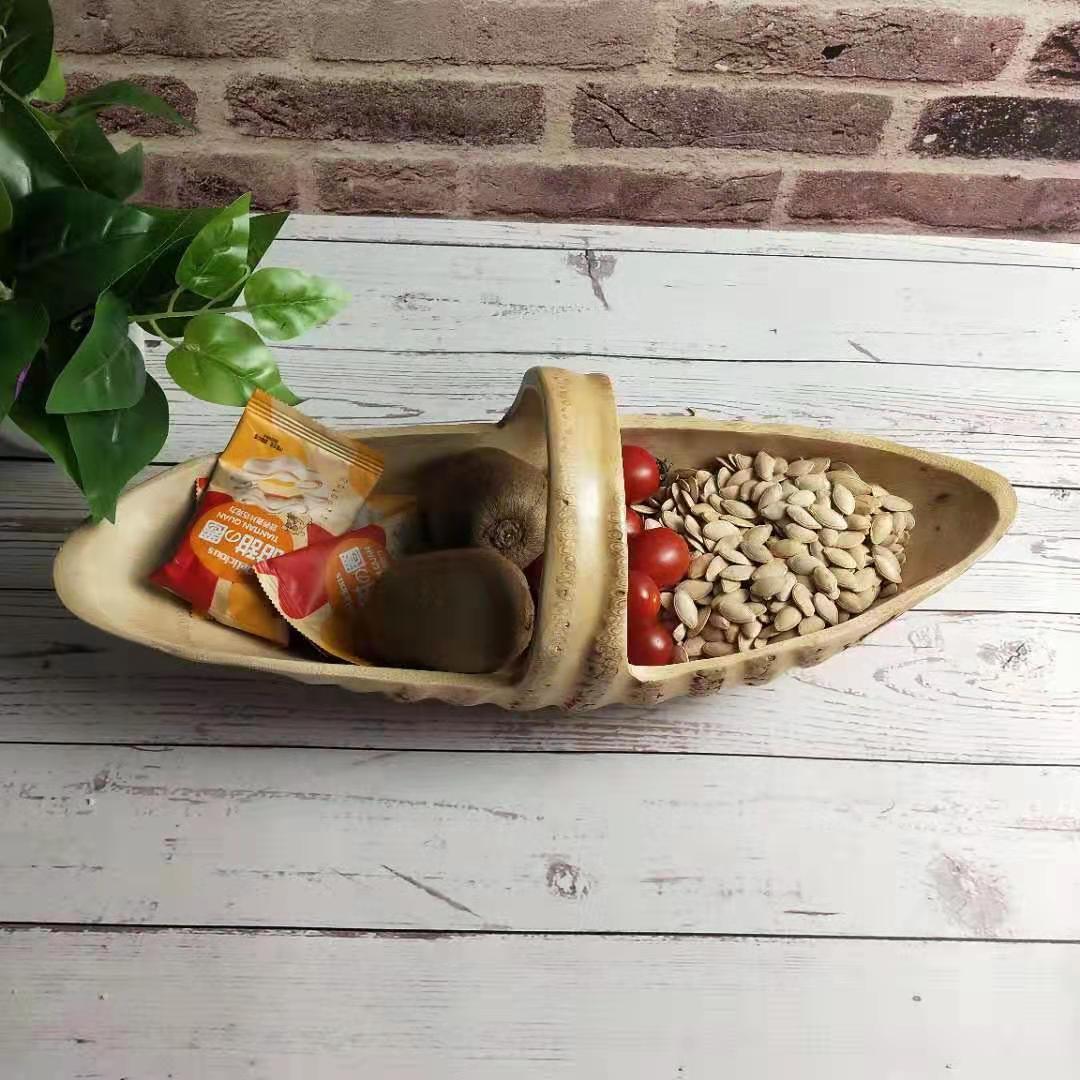 竹制根雕舟形手提果篮子 天然竹质工艺品摆件 创意个性零食干果盆