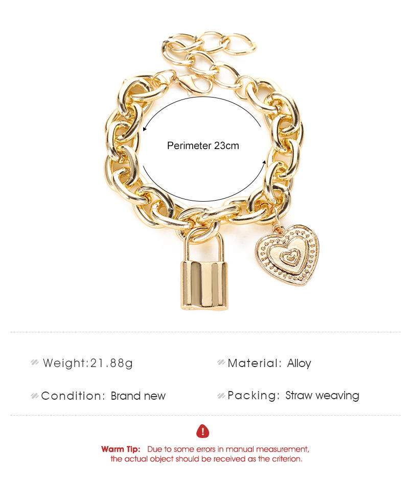 hot sale punk style hiphop thick chain lock bracelet fashion couple love pendant bracelet jewelry wholesale nihaojewelry NHCU232756
