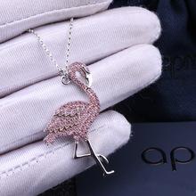 欧美大牌S925微镶火烈鸟项链apm粉色火焰鸟项链吊坠明星同款