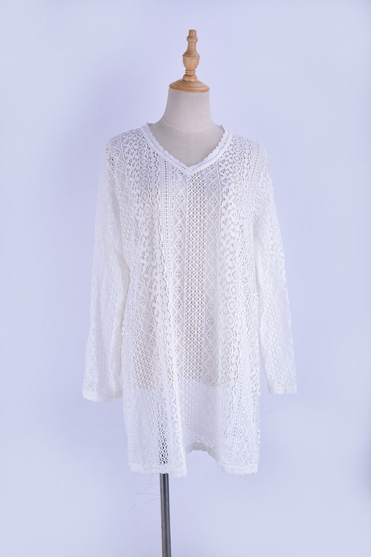new lace lace sun protection beach dress sexy long-sleeved bikini outer cover swimsuit wholesale nihaojewelry NHXW219941