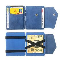 亚马逊男士真皮短款卡包 复?#25490;?#30382;创意魔术钱夹 两折硬币搭扣卡包