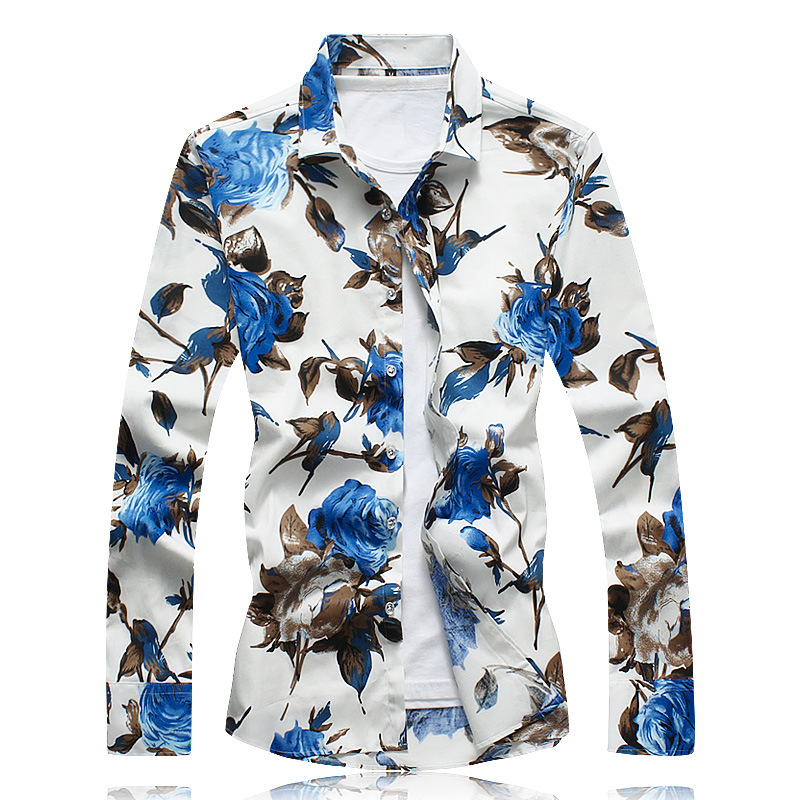 New men's large Satin Flower long sleeve slim shirt in spring and autumn of 2019 fashion men's printed shirt