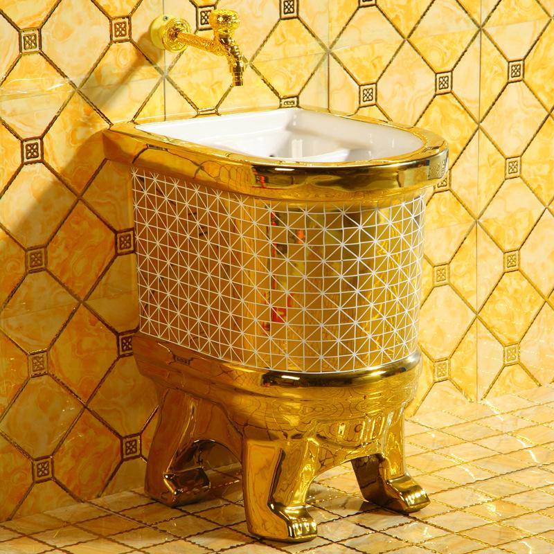 新品土豪金陶瓷拖把池阳台艺术拖把盆拖布池卫生间洗拖布池金色