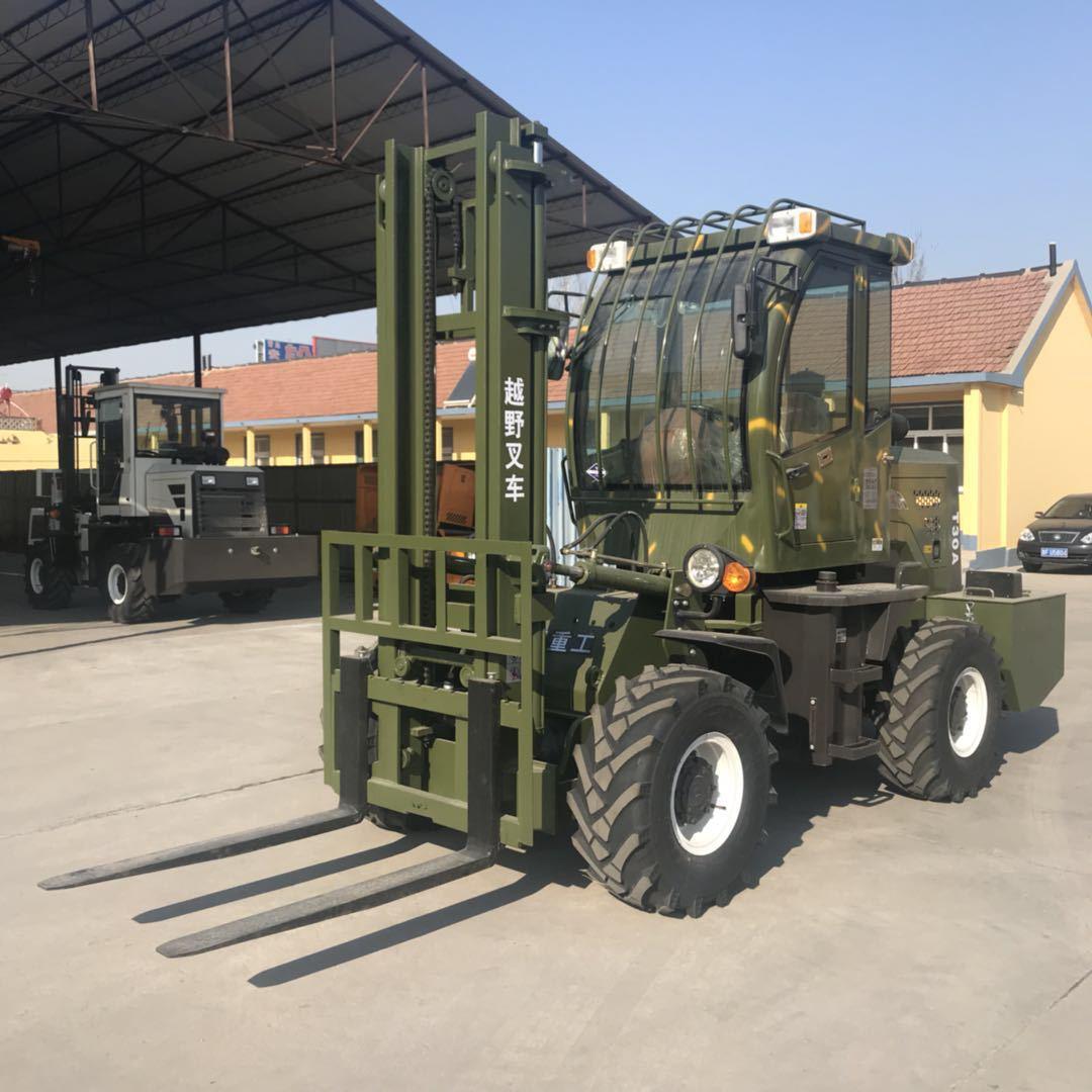 四驱内燃式越野叉车 涡轮增压 高效率搬运机械 可加装改装