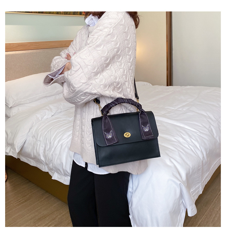 Fashion casual silk scarf kitten pattern hand ladle shoulder slung small square bag women NHLD187247