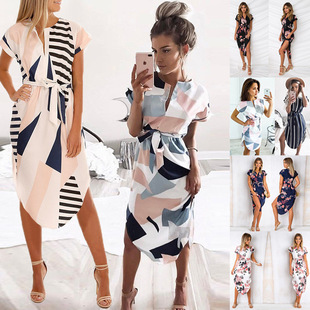 2020 Spring and Summer New Products Fashion Sexy V-neck Square Printed Mid-length Women's Dress 0425