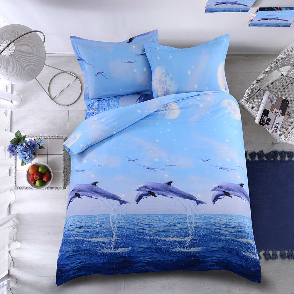 Softest Multi-Piece bed Dolphin Comforter Sheet Covered Pillow Case US/AU/EU size NHSP134515