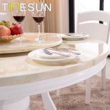 大理石?#30340;?#39184;桌转盘圆桌带现代小户型饭桌白色?#37202;?人6人家用桌椅