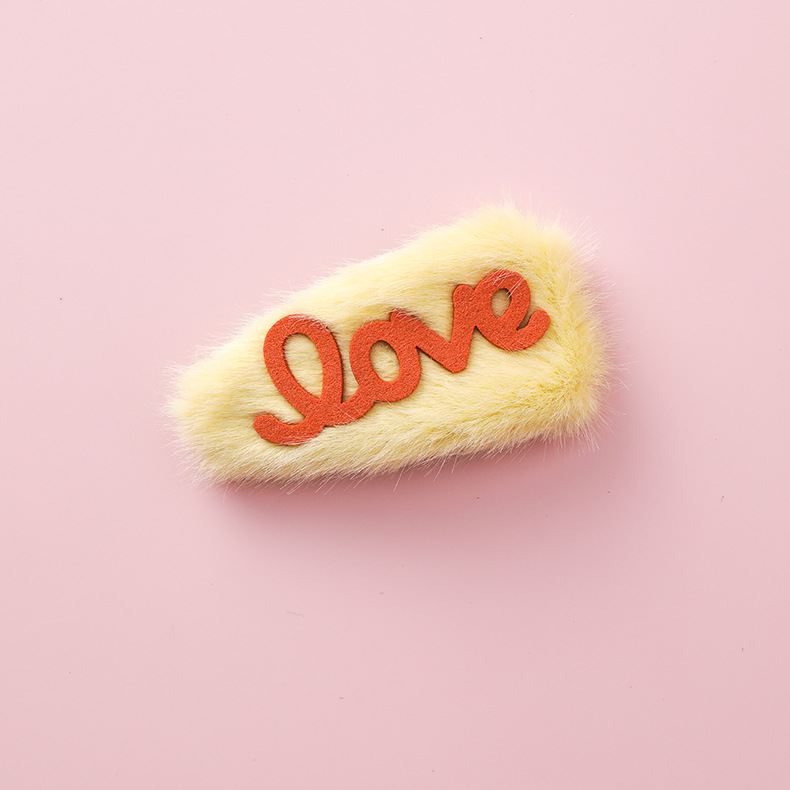 Cute LOVE letter plush hair clip NHMS154750