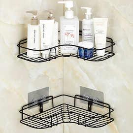 浴室免打孔置物架转角壁挂铁艺三角架厨房调料收纳架卫生间角架子