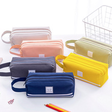 T联诚简约大容量提手笔袋 创意多功能双层文具盒小学生铅笔袋定制