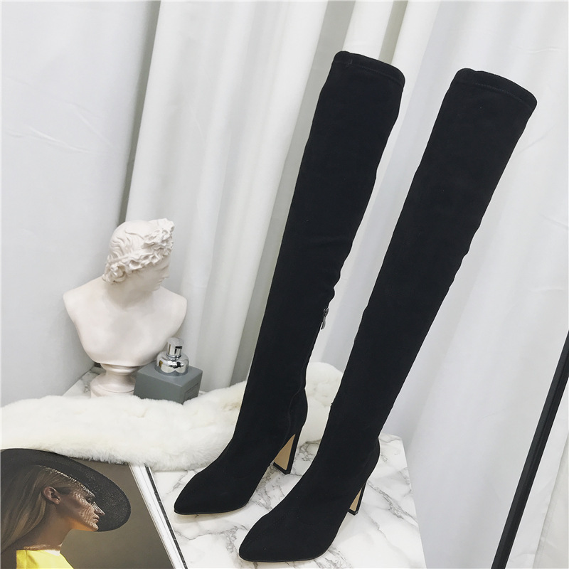 Winter new pointed thick high heel knee boots side zipper stretch boots large size 40 NHHU180033