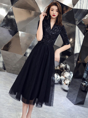Banquet evening dress dress black gas stage celebrity dress single generous evening dress