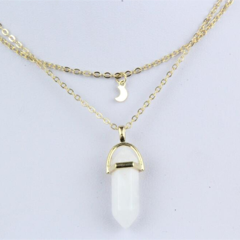 Wholesale Alloy Double Moon Hexagon Column Crystal Pendant Necklace Fashion Simple Clavicle Chain NHPF197065