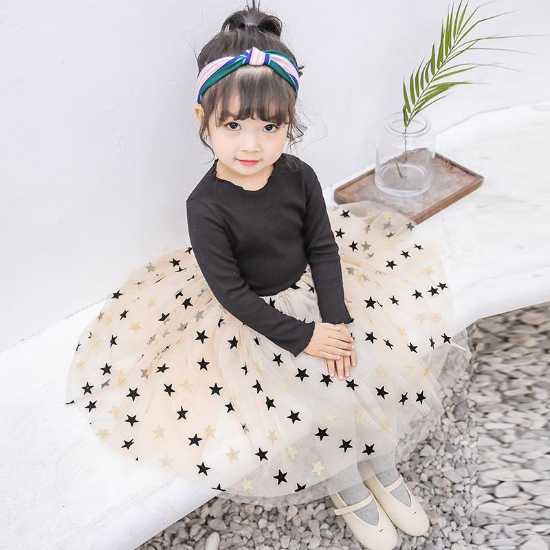 2019春季新款INS女童星星网纱连衣裙儿童长袖蓬蓬裙公主裙子代发