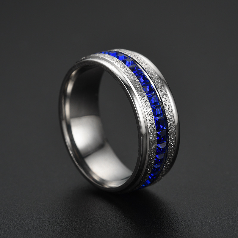 New Pearl Sand Ring Blue Ring Stainless Steel Dazzling Single Row Perimeter Square Diamond Ring yiwu nihaojewelry Wholesale NHTP213860