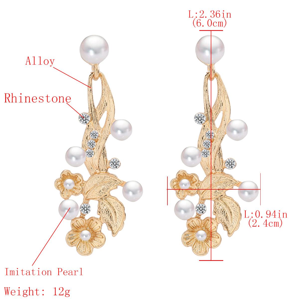 earrings new alloy diamond and pearl flower earrings women's earrings wholesale NHJE190697