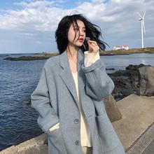 反季短款中長款2019新款秋冬季毛呢外套羊絨雙面呢子女裝大衣加厚