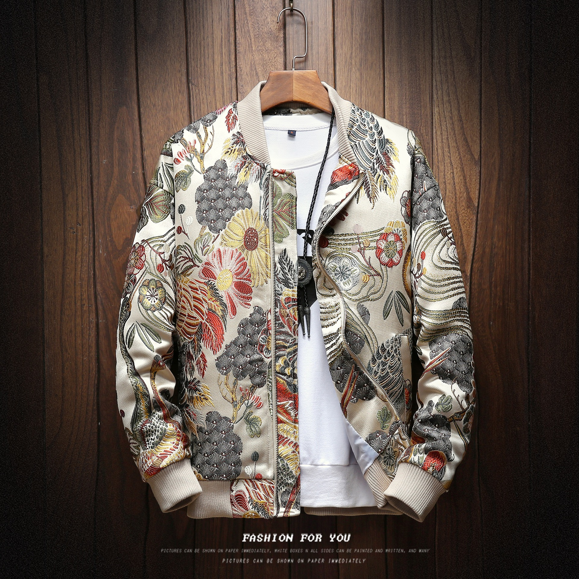 New style baseball collar men's jacket port style full body embroidery plus size casual men's Embroidered Jacket