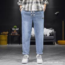 2019新款男士牛仔褲直筒口袋時尚簡約水洗褲系帶百搭潮褲學生青年