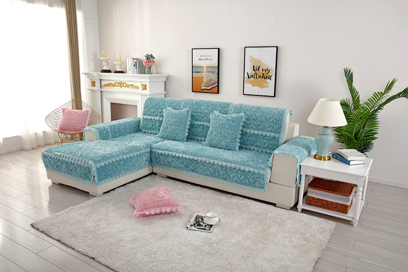 Thick Slip Resistant Couch Cover for Corner Sofa Made with Plush Fabric Including Lace for Living Room Decor 21