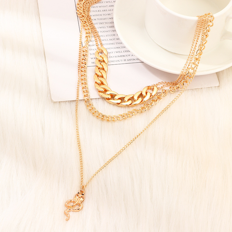 Jewelry wholesale fashion snakeshaped necklace exaggerated punk thick chain multilayer item NHNZ185901