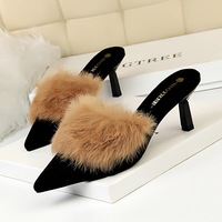 7108-1 Korean version fashionable wool slippers with fine heels, high heels, deep pointed head, slippers with rabbit hair and half slippers