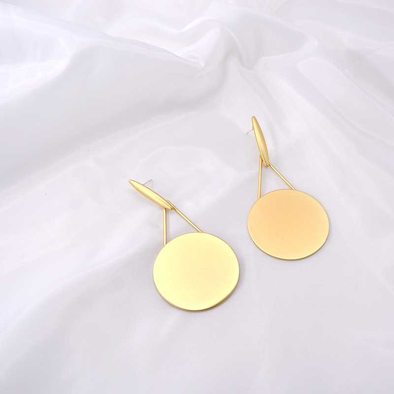 Fashion long face thin round earrings NHNT151291
