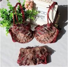 特價法國文胸 超薄網紗刺繡性感蕾絲透明女士內衣文胸套裝酒紅色