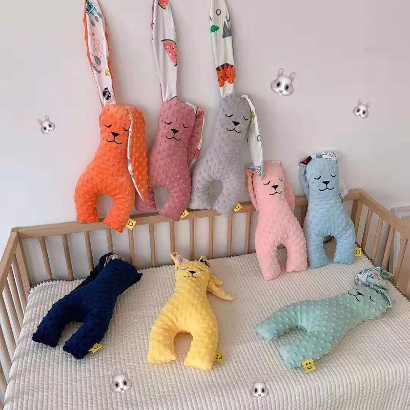 厂家批发婴幼儿童安抚豆豆绒公仔玩具安抚兔宝宝玩偶毛绒娃娃代发