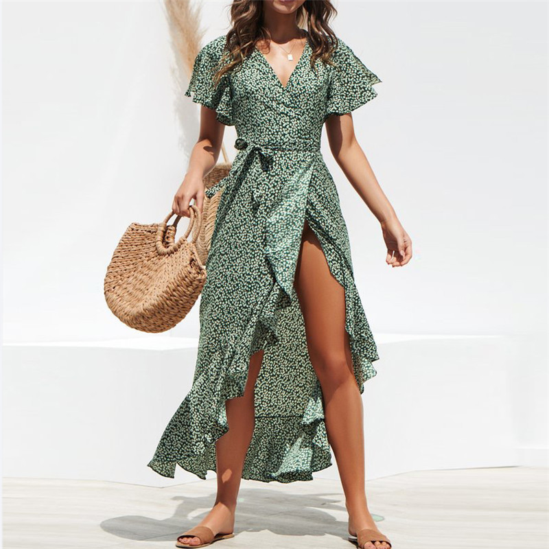 2019 speed sells spring explosions Europe and America sexy V-neck irregular high waist lace chiffon print dress