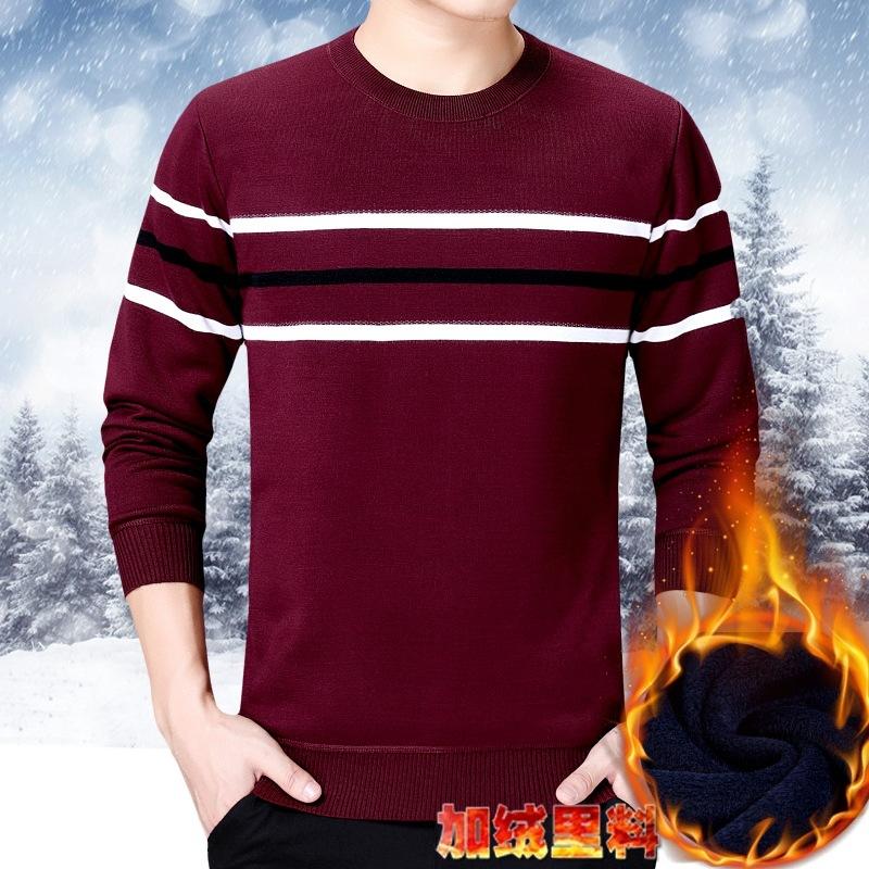加绒加厚男士羊绒毛衣新款男装圆领潮冬季保暖针织打底羊毛衫男