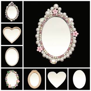 2020 new love mirror diy mobile phone jewelry accessories diamond pearl flower lens mobile phone beauty material