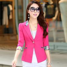 春秋女装新款女式韩版修身小西装 一粒扣七分袖花色边小西装外套