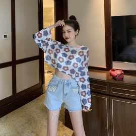 泫雅套装女夏季韩版网纱花朵防晒T恤上衣高腰牛仔短裤两件套裤子