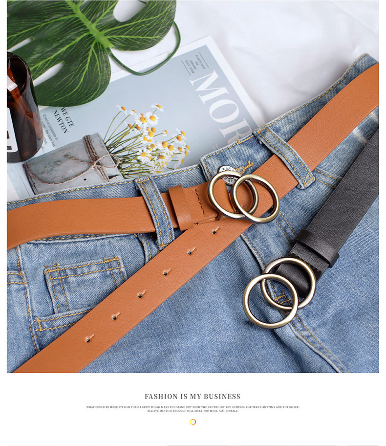Fashion woman leather metal buckle belt strap for dress jeans NHPO134132