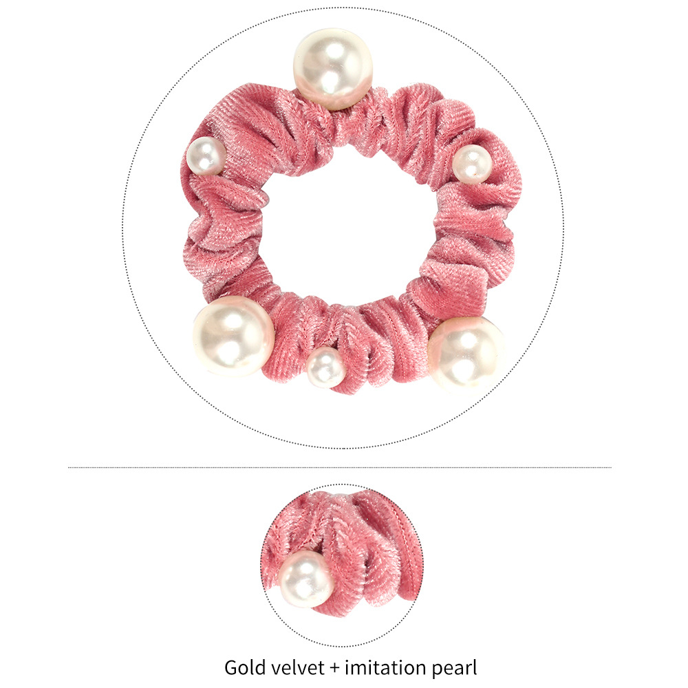 European and American candy color gold velvet pearl fashion wild meatball hair accessories NHMD184962