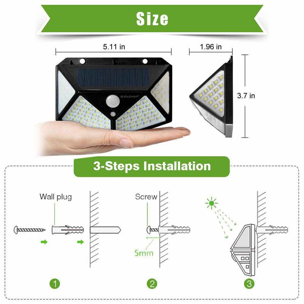 Outdoor Yard Lamps Four-Sided human body induction Solar Power Light 3 Modes 120 Degree Motion Sensor Angle Wall Lamp Waterproof