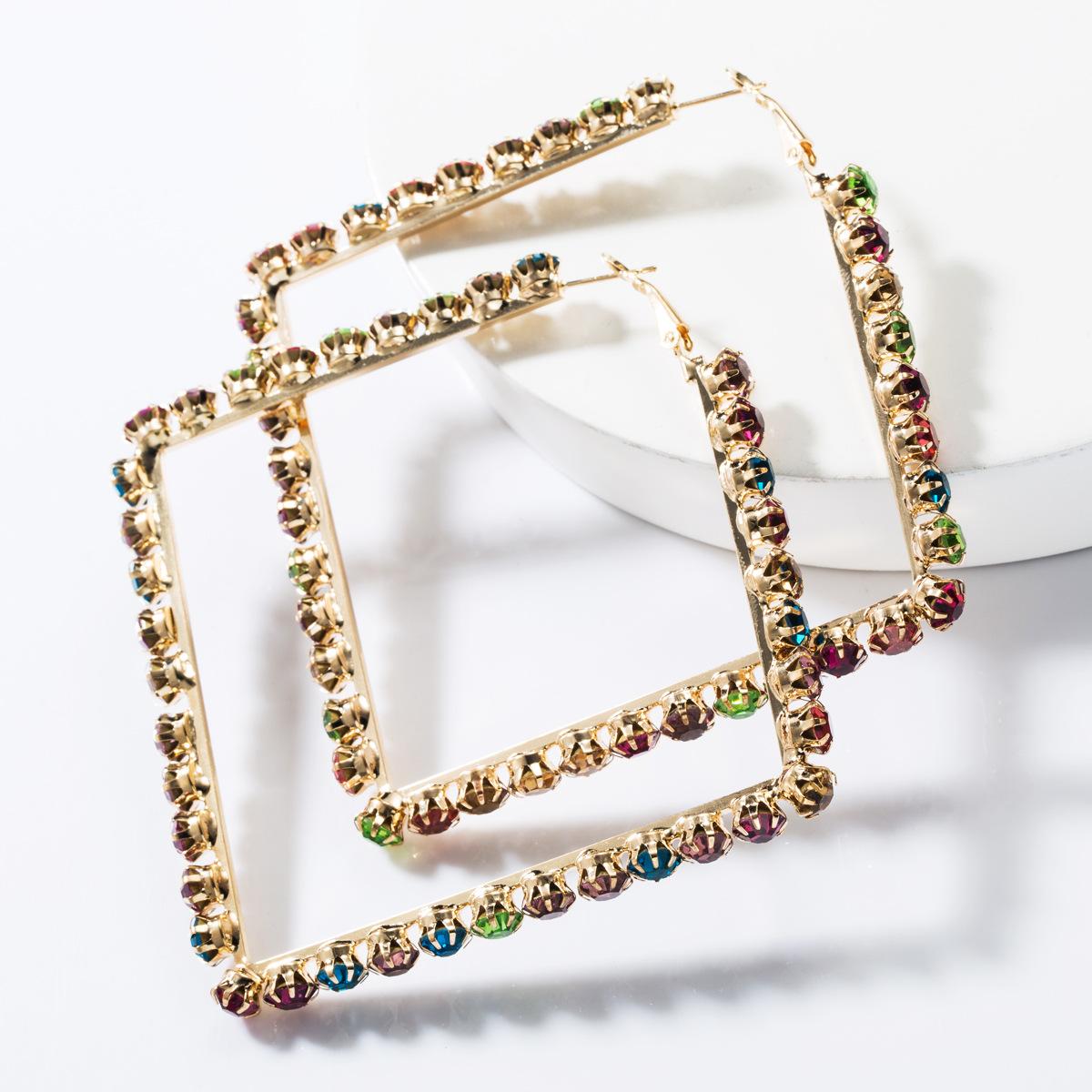 Fashion square alloy rhinestone hoop earrings NHJE153567