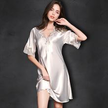 夏季女士性感吊帶又或冰絲夏天薄柔軟短睡裙真絲綢緞紫色女人睡