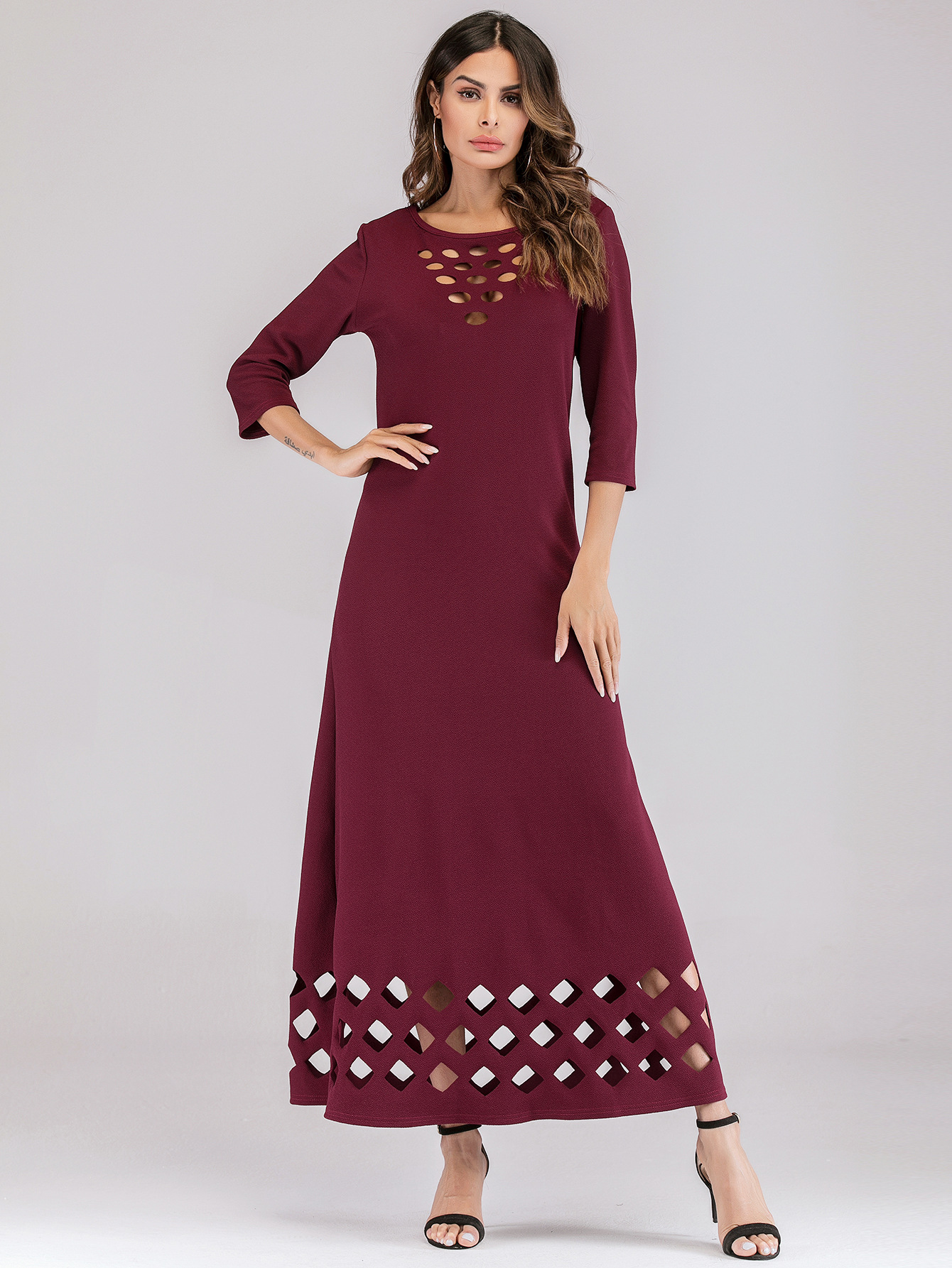 Fashion hollowed out floral seven-point sleeve dress NHLR155912