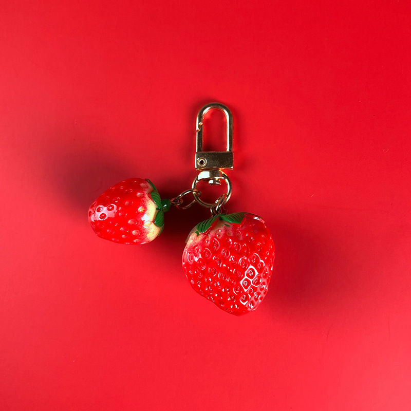 Girl heart cute sweet strawberry bell keychain ins net red fairy bag creative small pendant hanging female NHJP178392
